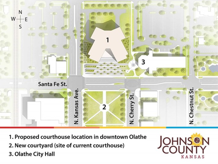 The proposed new Johnson County Courthouse would be west of Olathe City Hall