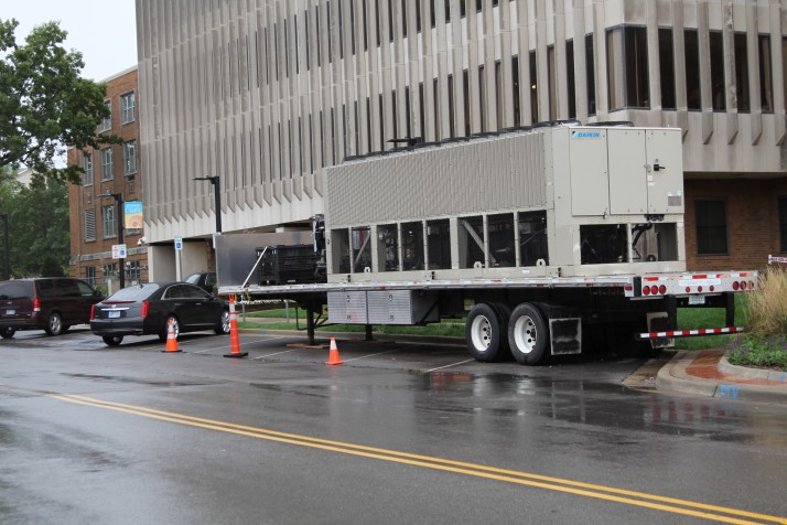 Johnson County is paying $5,000 per week to rent this chiller to replace a broken one at the courthouse.
