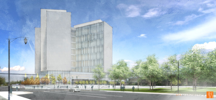 Artist rendering of what the proposed new Johnson County Courthouse could look like.