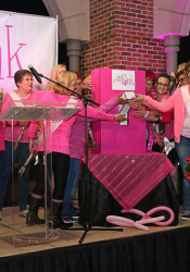 A group of cancer survivors and advocates helped flip the switch on the pink lights. Photo courtesy Parris Communications.