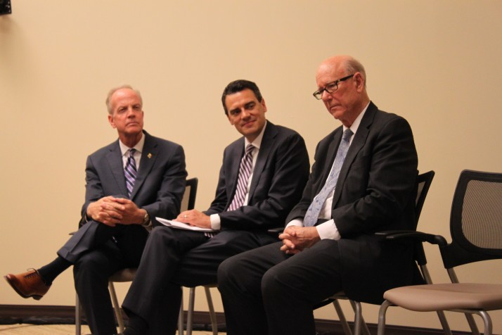 A rare gathering of the state's top federal elected officials attended the KU Alzheimer's Center announcement. (From left) Sen. Jerry Moran, Rep. Kevin Yoder and Sen. Pat Roberts.