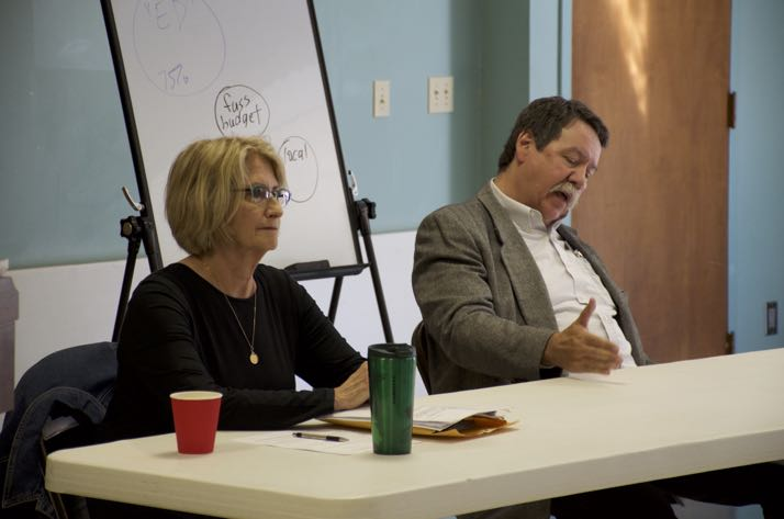 Chris Cindric and Steve Roberts appeared at the forum Saturday morning. Photo by Eric Blom