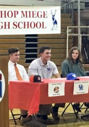 Bishop Miege seniors, from left to right, Adam White, Daniel Harper, Cailey Grunhard, Claira Creach and Hannah Weber were honored last week for signing their National Letter of Intent.  (Contributed by Teresa Stockton)