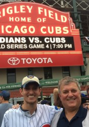 Sports editor Mike Lavieri and his dad outside of Wrigley Field before the start of Game 4.