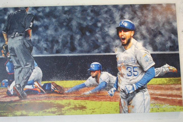Eric Hosmer bought a print of his momentous slide home that tied the fifth game of the World Series.