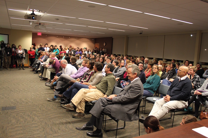 More than 150 people attended the Shawnee Mission School Board meeting.