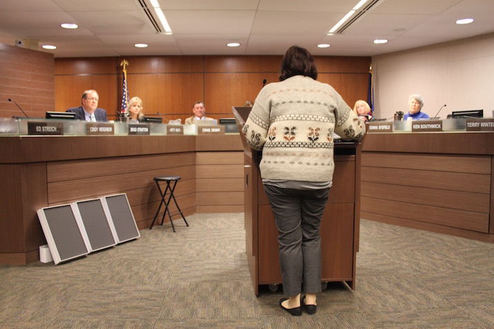 After listening to opponents of the safety pin policy for an hour, school board members had little reaction.