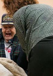 Dorwin Lamkin shared a laugh ahead of Wednesday's Pearl Harbor ceremony.