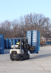 Semi-trucks were being unloaded this week with the new Republic Services roll-out carts at the former Meadowbrook clubhouse parking lot.
