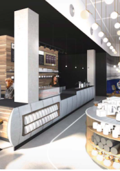 The Roasterie cafe planned for Woodside Village will include seating for 24 on a covered patio.