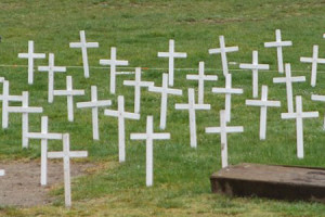 The Roeland Park city council continues to struggle with how to handle a display of crosses set out during abortion awareness month, like the one above in Washington state, under city code. Photo via Flickr.