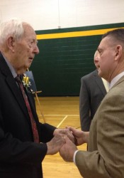 Inductee Bill Tiegreen, left, with former head baseball coach and 2011 Inductee Bill McDonald (contributed by SM South)