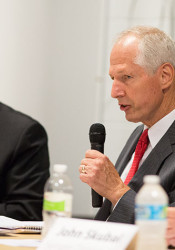 Don McGuire (right) and Jim Denning at a candidate forum last fall.