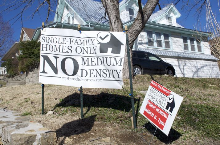 The Westwood Annex neighborhood is full of signs opposing changes suggested in the comprehensive plan draft.