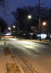 Prairie Village installed five of the new LED street lights at 79th Street and Reinhardt as a test. Photo via Prairie Village Public Works.