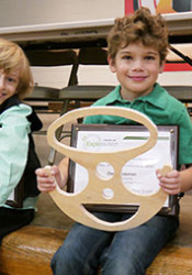 Rosehill students with their steering wheel design. Photo via SMSD.