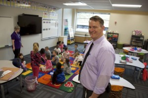Principal Bartel shows off one of the lower grade classrooms.