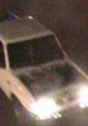 A photo of the truck that is suspected in the vandalism in downtown Overland Park.