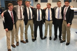 Seniors for SM East with Coach Shawn Hair: Team Manager Chace Prothe, Liam George, Lane Johnston, Coach Shawn Hair, Stanley Morantz, Trevor Thompson, Connor Rieg.