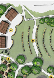 An early rendering of the amphitheater concept from the 2009 Parks & Recreation Master Plan.