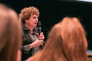 Sonia Warshawski, who was shot in the chest the day British soldiers liberated the Bergen-Belsen concentration camp, but survived and started a new life in the United States. She spoke to students and parents at Shawnee Mission East on Tuesday.