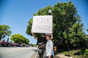 Protestors demonstrated outside of Rep. Kevin Yoder's downtown Overland Park office following his AHCA vote last week.