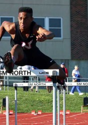 SM North's Ike Diggs took fourth in the 110-meter hurdles. Photo by Andrew Poland.