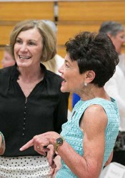 Donna Knoell (right) chats with former student Barbara Bollier (center) and Prairie principal Kristen Shipp ahead of Tuesday's ceremony.