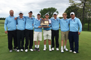 SM East's boys golf team with the runner-up trophy. Photo via Twitter.