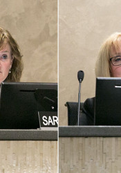 Shawnee Mission Board of Education members Sara Goodburn (left) and Deb Zila.