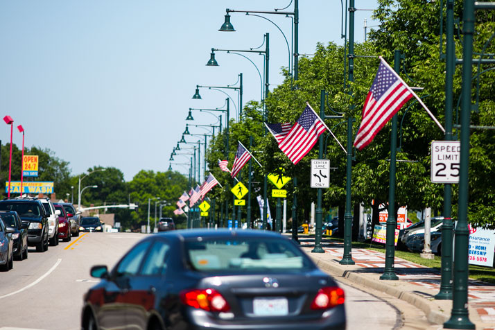 Mission has hung American flags along Johnson Drive, part of its annual tribute to those who have served the country. The flags will fly from Memorial Day through Veterans Day.
