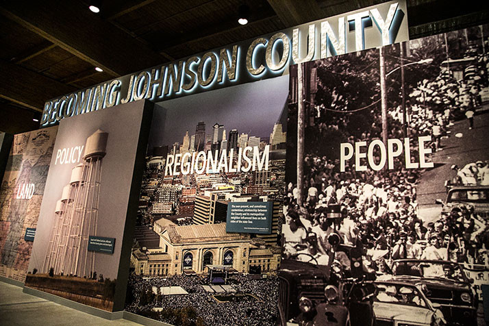 "The huge ""Becoming Johnson County"" display greets visitors when they enter the new Johnson County Museum location at the Arts and Heritage Center."