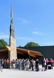 A crowd of hundreds gathered outside the new Johnson County Arts & Heritage Center for Saturday's grand opening.