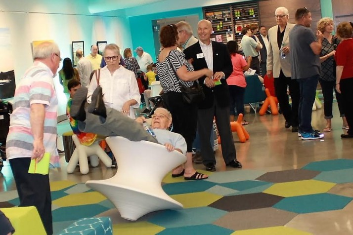 Residents got to check on the new common area -- including some interactive furniture.
