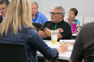 Kenny Southwick, who will serve as interim superintendent for the 2017-18 school year, was back at the negotiating table Tuesday. He was visiting family in California during the last session after the birth of his first grandchild.