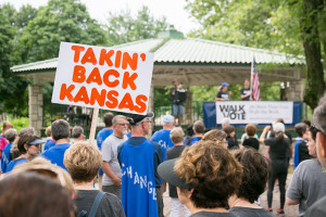 "More than 500 people participated in MainStream's inaugural ""Walk the Vote"" event Saturday in Overland Park."