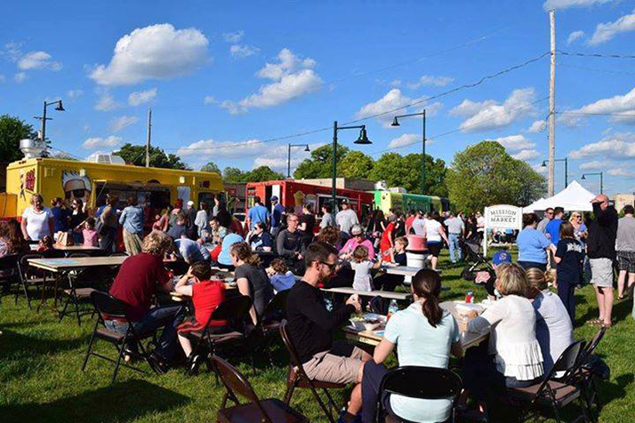 Food trucks will line up at the Mission Farm and Flower Market site Tuesday evening.