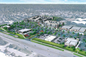A rendering of the Promontory development under construction on the former Glenwood Plaza site at 91st and Metcalf.
