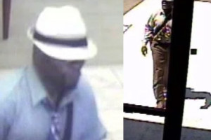 Surveillance camera images of the man who robbed the BMO Harris Bank in Leawood yesterday.