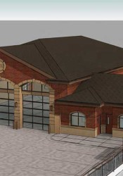 A rendering of the three-bay fire station approved by the Prairie Village Planning Commission.