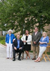 Roeland Park mayors (from left) Judy Katz, Joel Marquardt, Adrienne Foster, Steve Petrehn, Joan Wendel and Lori Hirons gathered for a group portrait at city hall Wednesday.