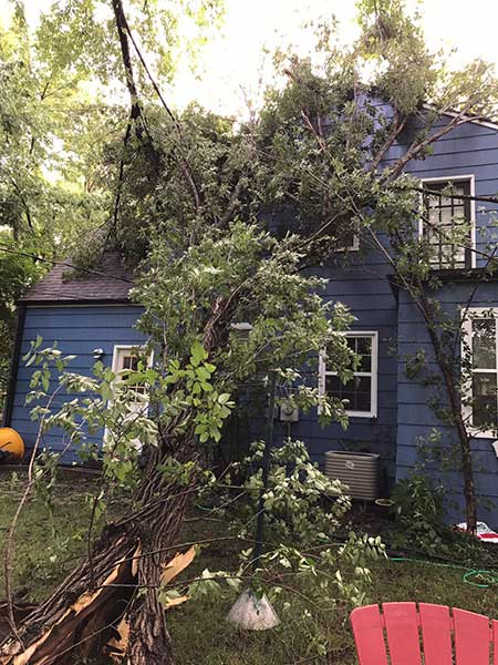 A fallen tree limb landed on power and utility lines on the back of this Prairie Village home. Photo courtesy reader Melissa Dailey.