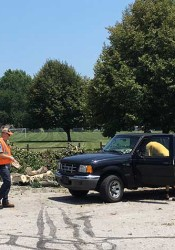 The debris drop off site at Mohawk Park in Mission took in tons of branches Monday.