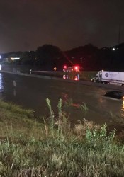 The scene at I-35 and Lamar during this morning's flash flooding. Photo via Roeland Park police.