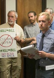 Members of Sen. Jerry Moran's Olathe office staff took notes as a group of Kansans shared their concerns with efforts to repeal and replace the Affordable Care Act Wednesday.