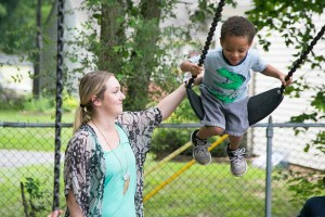 Kids at play on the Growing Futures playground near downtown Overland Park.