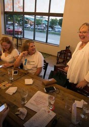 SM West area candidate Laura Guy watched the election results in downtown Overland Park with members of Education First Shawnee Mission, the political action committee that endorsed her.