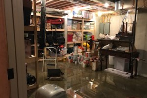 A flooded basement in Fairway after Saturday's storms.