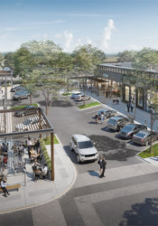 A rendering presented to the Prairie Village city council in August showing a concept for the redevelopment of Corinth Square South.