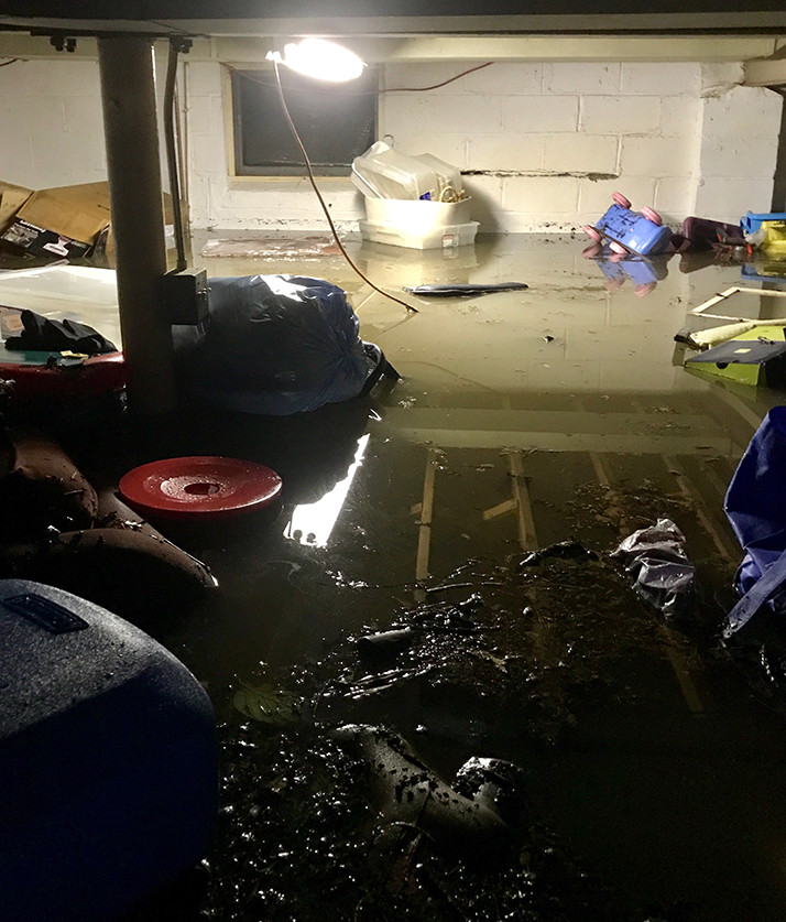 The Austins' basement had several feet of water in it.